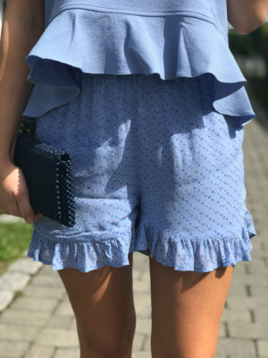 Ganni Printed Georgette Shorts Forever Blue